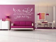 """Wall Quote """"An Angel in your house..."""" Sticker Modern Transfer PVC Decal Decor"""